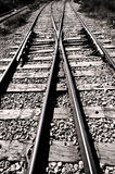 Railroad junction - black & white. Railroad junction - two railroads converging - black & white Stock Photo