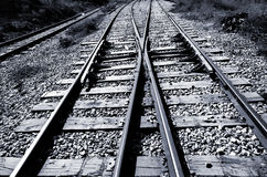 Railroad junction - black & white. Railroad junction - two railroads converging - black & white Royalty Free Stock Photography