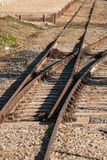Railroad junction. Railroad crossing an old railway Royalty Free Stock Photo