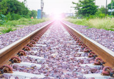 Railroad. Kerr Thailand railway train is coming now Stock Images