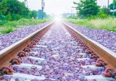 Railroad. Kerr Thailand railway train is coming now Stock Photos