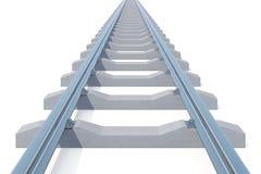 Railroad l'entrée dans la distance d'isolement sur le fond blanc Route à nulle part illustration 3D Photos libres de droits