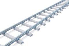Railroad l'entrata in distanza isolata su fondo bianco Strada ad in nessun posto illustrazione 3D illustrazione vettoriale