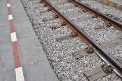 Railroad la prospettiva di modo ed il ciottolo, viaggio concettuale Fotografia Stock Libera da Diritti