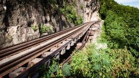 Railroad la Segunda Guerra Mundial de madera de la historia en el kwai del río, kanchanaburi, fotos de archivo libres de regalías