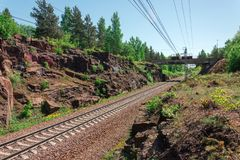 Railroad laid in the rocks of the canyon gorge royalty free stock photography