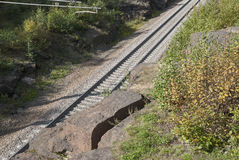 Railroad laid among the rocks. View from above Royalty Free Stock Photo