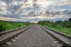 The railway rails leaving for the horizon royalty free stock images