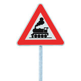 Railroad level crossing sign without barrier or gate ahead, beware of train roadside steam engine locomotive signage road sign Royalty Free Stock Image