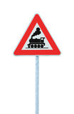 Railroad Level Crossing Sign without barrier or gate ahead the road, beware of train roadside signage, roadsign on pole post Stock Photography