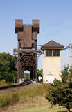 Railroad lift bridge. Old rusty railroad lift bridge still in operation Stock Photo