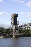 Railroad lift bridge in Hastings Minnesota. Railroad lift bridge crossing Mississippi River in Hastings Minnesota stock photography