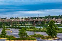Railroad line over river Missouri. At Omaha Nebraska Council Bluffs Iowa royalty free stock images