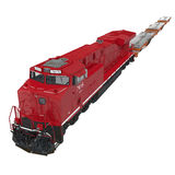 Railroad Locomotive with Heavy Duty Flat Cars on white. 3D illustration Royalty Free Stock Images