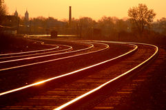 Railroad Mainline at sunrise 3 stock image
