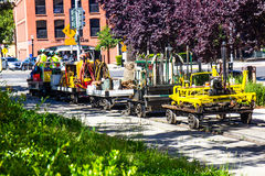 Railroad Maintenance Crew With Tools & Equipment. Railroad Maintenance Crew With Trollies & Equipment Royalty Free Stock Photography