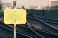 Railroad Marker & Tracks Royalty Free Stock Photo