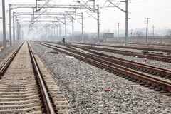 Railroad metal track Stock Photos