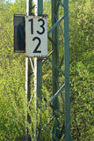 Railroad Mileage Marker. As Symbol of Industrial Communication Stock Photo