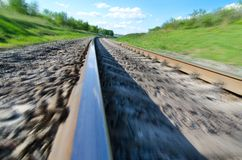Railroad in motion Royalty Free Stock Images