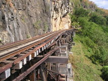 Railroad in the mountains. Old railroad goes along the cliffs into the uncertainty. On it drive the trains already long ago. This is history Stock Image