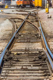 Railroad. Multiple railroad junctions or nodes perspective view Stock Images