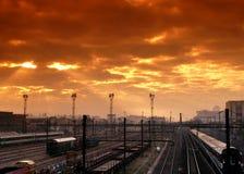 Railroad near Paris. Railroad  in the surbub of paris Stock Photo