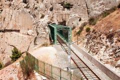 Railroad near Royal Trail (El Caminito del Rey) in gorge Chorro, Royalty Free Stock Photos