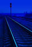 Railroad in night Royalty Free Stock Photos