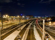 Railroad at night Stock Photography