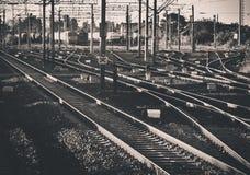 Railroad nod. Near Bucharest Nord train station stock photo