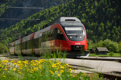 Railroad, OBB train, Obertraun train station, Austria Stock Images