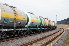 Railroad oil tanks stock photography