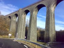 Railroad old bridge. In France province in winter Royalty Free Stock Images
