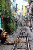 Railroad through old city of Hanoi. A view of the railway passing through the old quarter of Hanoi, Vietnam Stock Photography
