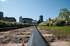 Railroad in old Montreal Stock Photo