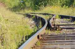 Railroad. Old railroad summer in the village Stock Photos