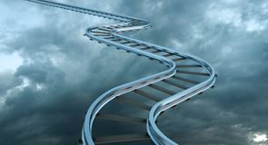 Railroad of opportunity going up as a staircase in the sky, road to heaven symbol. Business concept vector illustration