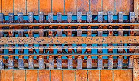 Railroad over water. Top view stock images
