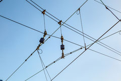 Railroad overhead lines against clear blue sky Royalty Free Stock Photos