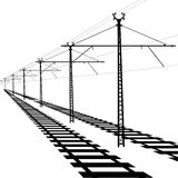 Railroad overhead lines. Contact wire. Vector Stock Photos