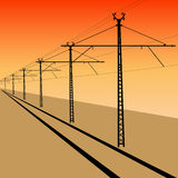 Railroad overhead lines. Stock Photos