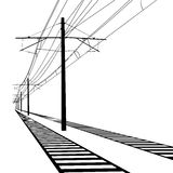 Railroad overhead lines. Contact wire. Vector Stock Images