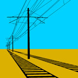 Railroad overhead lines Contact wire. Vector illustration Royalty Free Stock Images