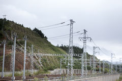 Railroad overhead lines Royalty Free Stock Photography