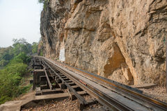 Railroad parallel to the edge of the cliff. Old Railway built parallel to the cliff Royalty Free Stock Photos