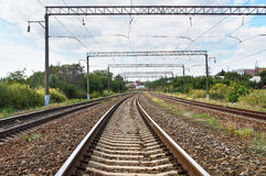 Railroad passing. Through natural area Stock Photography