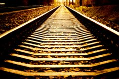Railroad perspective. Crazy burning high contrast colors Royalty Free Stock Photo