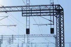 Railroad powerlines Stock Photos