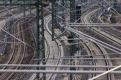 Railroad, rail tracks, railways and power supply lines Stock Photo